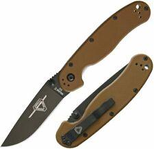 Ontario Coyote Brown Rat II Black Drop Folding Knife Pocket Folder On8830cb