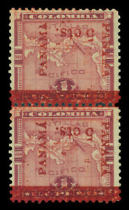 PANAMA 1906 Map of Panama 5c/1p lake Sc# 183d mint PAIR showing INVERTED surch.