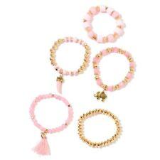 Set of 5 - Rose Quartz, Champagne Diamond and Golden Beads Stretchable Bracelets