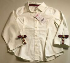 GYMBOREE GIRLS IVORY 3/4 SLEVE FITTED BLOUSE W/ BOW & BUTTON CUFF DETAIL SIZE 8