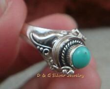 Sterling Silver Poison Locket Ring w Turquoise LR-718-DG