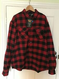 Bikers Gear Australia Red / Black Flannel Shirt CE Armour Kevlar Lined 2XL New