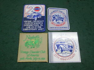 4 Vintage Chevrolet Club Patches 20th Anniversary 25th Anniversary Nashville ect