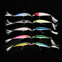 10Pcs/lot Hot Sale Minnow Fishing Lures Bait Bass CrankBaits Tackle Feather Hook