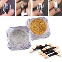 2*Mirror Powder Glitter Puder Nagel Pulver 8*Lidschatten Bürste