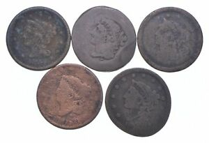 Lot of 5 1817-1857 Early US Large Cent - Dateless - History You Can Hold! *593