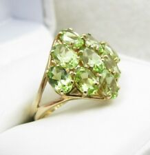 10k Yellow Gold Green Peridot Ladies Cluster Ring Sz 7