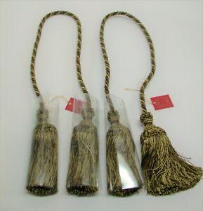 "(2) Double Rope & Tassel Curtain Tiebacks 25"" Spread, 6"" Tassels ~ Willow NEW"