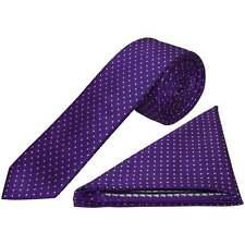 Purple and White Polka Dot Skinny Men's Tie Handkerchief Set wedding Prom Tie