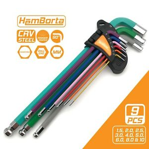 9pc Hex Keys Extra Long Allen Key Set Metric Multicolour 1.5-10mm Hex Wrenches