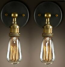 Industrielampe Wandleuchte  2er Retro E27 aus Messing licht Leuchtung