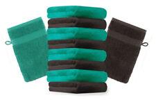 Betz 10er Pack Waschhandschuhe PREMIUM Farbe:Smaragdgrün & Dunkelbraun 17x21 cm