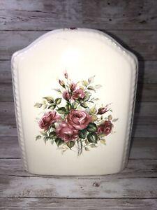 🌷Vintage ShabbyChic Athena Rose Ceramic Tissue Box Cover Mint Condition