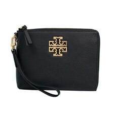 NWT Tory Burch Britten Leather Large Zip Pouch Black  MSRP: $225