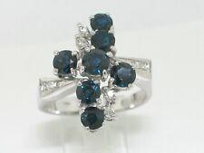 Juwelen Saphir Ring 585 Weißgold 14Kt Gold 7  blaue Saphire   8 Diamanten