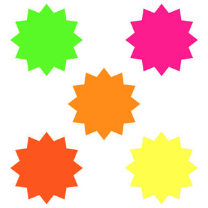 100 x Bright Neon Fluorescent Stars Price Display Label Tags 5.7cm