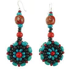 Boucles d'oreilles Femme ethniques rond perles bois Bleu Turquoise Rouge noir