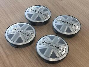 Genuine Jaguar Union Jack Alloy Wheel Centre Caps x4 All Models  NEW