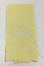 Vintage Tea Towel Or Guest Towel, Linen, Yellow, Flower & Leaf Embroidery, White