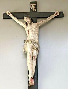 KREUZ KRUZIFIX JESUS u. MARIA  KORPUS HOLZ ANTIK
