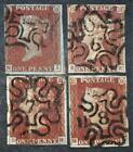 4 x 1841 1d reds with numbers 1,6,7,8, in maltese cross