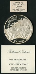 Falkland Islands HUGE 1985 25 Pounds Silver Ship Proof Coin MIB NO RESERVE!