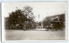 Town square, Civil War soldier statue, c. 1915, car real photo postcard RPPC old