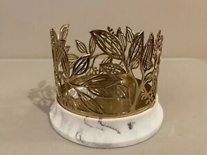 Bath & Body Works GOLDEN BRANCHES Vine Branches Marble 3 Wick Candle Holder New