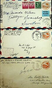 USA 1942-44 3 ARMY POSTAL SERVICES PSE 1 UPRATED TO SWEDEN