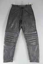 JTS BLACK LEATHER BIKER TROUSERS SIZE 12 - WAIST 28 INCHES/INSIDE LEG 30 INCHES