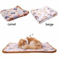 Floral Paw Print Pet Puppy Cat Kitten Bed Cushion Soft Fleece Warm Blanket OK