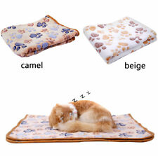 Floral Paw Print Pet Puppy Cat Kitten Bed Cushion Soft Fleece Warm Blanket OK