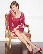 $750.La Petite Robe di Chiara Boni Narda Empire Waist Dress w/Velvet RED Sz 4/40