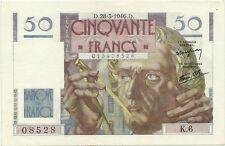 BANQUE DE FRANCE 50 FRANCS - 28 MARCH 1946 - CHOICE CRISP AU - SPLENDIDE !
