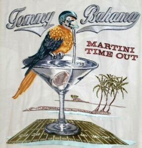 TOMMY BAHAMA Embroidered Martini Time Out Shirt Men's M Cream 100% Silk