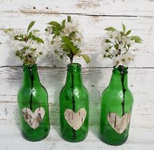3 Vintage Green Wedding Handmade Glass Bottles Jars Flower Vases Birch Hearts