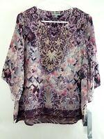 JM COLLECTION Women's Top Purple Floral Blouse Embellished Metallic Gold $54.50
