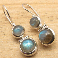 Natural LABRADORITE Gems Fashion Jewelry Dangling Earrings ! 925 Silver Plated