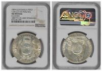 NGC Guatemala 1894 Un Peso Counterstamped ½ Real On Peru 1889 Sol Silver Coin AU
