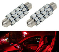 Red Car LED Lamps 42mm festoon 12SMD Interior Dome Map Lights Bulbs 12V 561 562