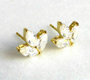 Women 14K Yellow Gold Plated CZ Cubic Crystal Maple Leaf Small Studs Earrings