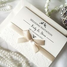 Wedding or Evening Invitations EMBOSSED Personalised bow ribbon folded modern
