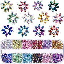1200 Pcs 12 Colors Shiny Nail Art Rhinestones Flat Back Gem Decorations Supplies