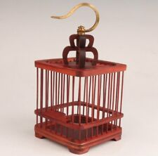 RED WOOD HAND CARVED BIRD CAGE EXQUISITE GIFT DECORATION