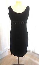 Vestido Vintage 1960 Negro Terciopelo Negro Con Perlas