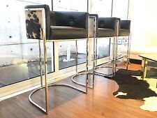 Set Of 6 Chrome Cantilever Counter Bar Stools Cowhide & Black Leather NEW!