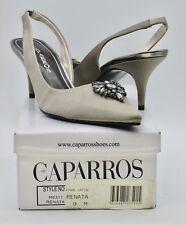 Caparros Renata 9M Women's Pointed Toe Slingback Kitten Heels Pumps Taupe Satin