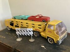 Vintage Tonka Car Carrier Truck, Pressed Steel Toy, Auto Transporter