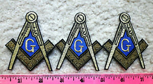 Lot of 3 Masonic Compass & Square Blue Lodge patches w- gold bullion embroidery