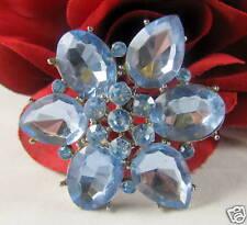 Baby Blue Rhinestone Flower Brooch Pin CAT RESCUE